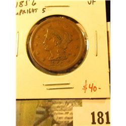 1856 Large Cent, upright 5, VF, value $40