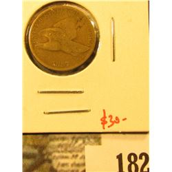 1857 Flying Eagle Cent, G+, value $30
