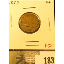 1857 Flying Eagle Cent, F+, value $50