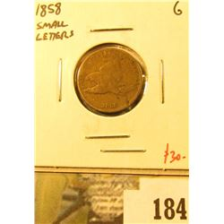 1858 Flying Eagle Cent, Small Letters, G, value $30