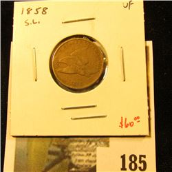 1858 Flying Eagle Cent, Small Letters, VF, value $60