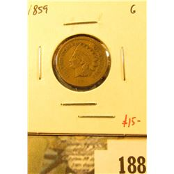 1859 Indian Head Cent, G, value $15