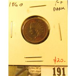 1860 Indian Head Cent, F+, dark, value $20