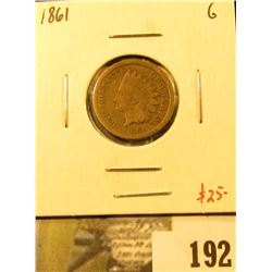 1861 Indian Head Cent, G, value $25