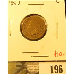 1863 Indian Head Cent, G, value $10