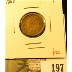 1863 Indian Head Cent, F, value $20