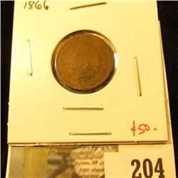 1866 Indian Cent, G, value $50