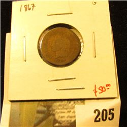 1867 Indian Cent, G, value $50