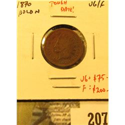 1870 Indian Cent, bold N, VG/F, tough date! Value VG = $75, F = $200