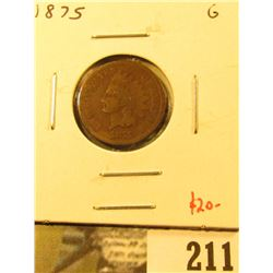 1875 Indian Cent, G, value $20