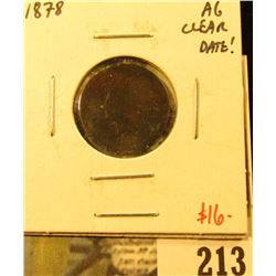 1878 Indian Cent, AG clear date, value $16
