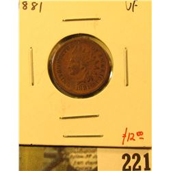 1881 Indian Cent, VF, value $12