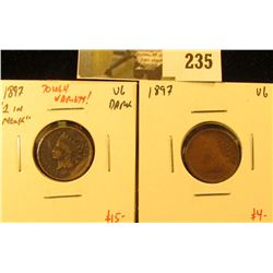 2 1897 Indian Head Cents – 1897  1 in neck  variety (tough, under rated variety!)and 1897 (normal),