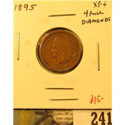 1895 Indian Cent, XF+, 4 full diamonds, value $15