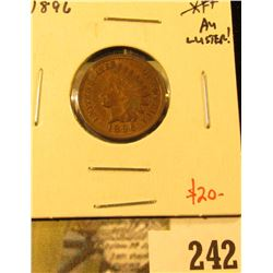 1896 Indian Cent, AU, luster, value $20