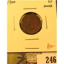1900 Indian Cent, XF toned, value $10