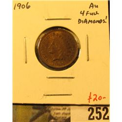1906 Indian Cent, AU, 4 full diamonds, value $20