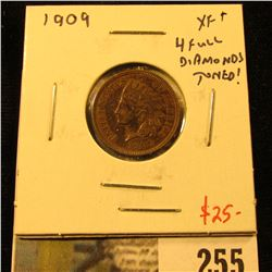 1909 Indian Cent, XF+ toned, 4 full diamonds, value $25