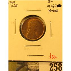 1909 VDB Lincoln Cent, BU, MS63 toned, nice, value $30