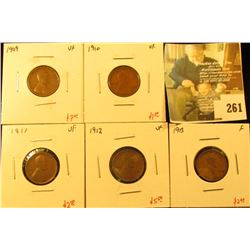 Group of 5 Lincoln Cents, 1909 VF, 1910 VF, 1911 VF, 1912 VF & 1913 F, group value $18.50