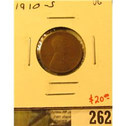 1910-S Lincoln Cent, VG, value $20
