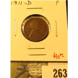 1911-D Lincoln Cent, F, value $10