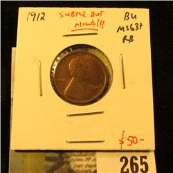 1912 Lincoln Cent, BU, MS63+, subtle but nice, value $50