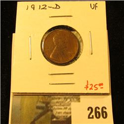 1912-D Lincoln Cent, VF, value $25