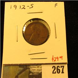 1912-S Lincoln Cent, F, value $29