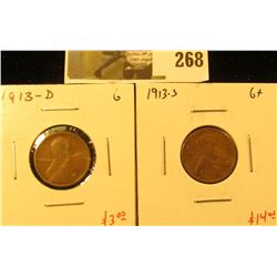 2 Lincoln Cents, 1913-D, G & 1913-S, G+, pair value $17