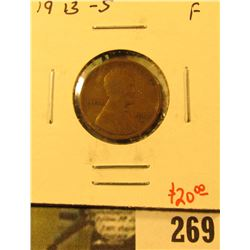 1913-S Lincoln Cent, F, value $20