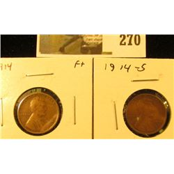 2 Lincoln Cents, 1914, F+ & 1914-S, VG, pair value $31