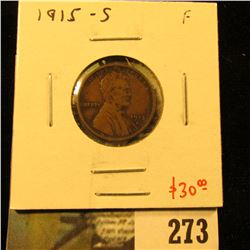 1915-S Lincoln Cent, F, value $30