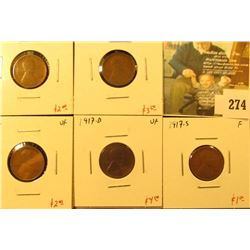 Group of 5 Lincoln Cents, 1916 VF, 1916-S F, 1917 VF, 1917-D VF & 1917-S F, group value $13