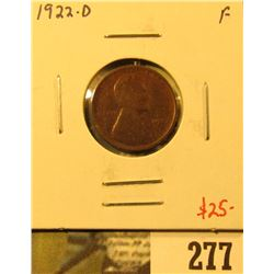 1922-D Lincoln Cent, F, value $25