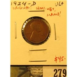 1924-D Lincoln Cent, VG, original chocolate brown, semi-key date, scarce, value $45