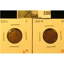 (2) Lincoln Cents, 1924-S F & 1925-D XF, pair value $15+