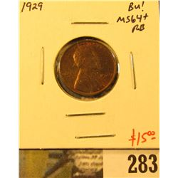1929 Lincoln Cent, BU, MS64+ RB, scarce this nice, value $15