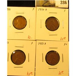 Group of 4 Lincoln Cents, 1932 F, 1932-D F, 1933 F & 1933-D F+, group value $12+
