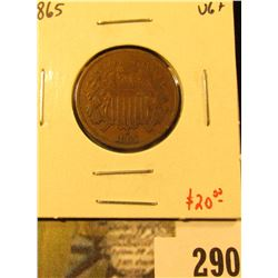 1865 Two Cent Piece, VG+, value $20