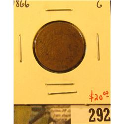 1866 Two Cent Piece, G, value $20