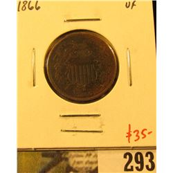 1866 Two Cent Piece, VF, value $35