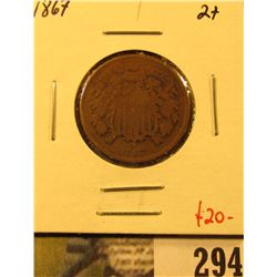 1867 Two Cent Piece, G+, value $20