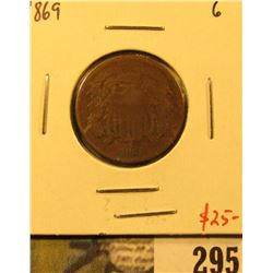 1869 Two Cent Piece, G, value $25