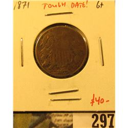 1871 Two Cent Piece, G+, tough date, value $40