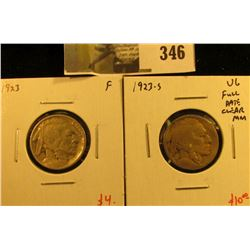 (2) Buffalo Nickels, 1923 F & 1923-S VG, full date, clear Mint mark, pair value $14