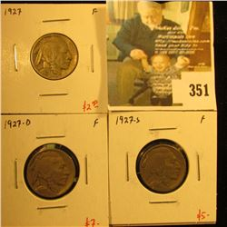 (3) Buffalo Nickels, 1927PDS, all F, group value $14+