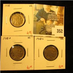 (3) Buffalo Nickels, 1928PDS, all VG, value $6+
