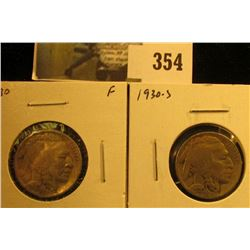 (2) Buffalo Nickels, 1930PS, both F, pair vale $5
