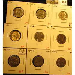 Group of (9) BU Jefferson Nickels, 1940, 1941, 1946PDS, 1947PD, 1949DS, all BU, great for a BU album
